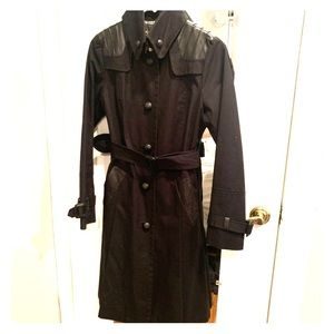Mackage Trench Coat with Leather Trim